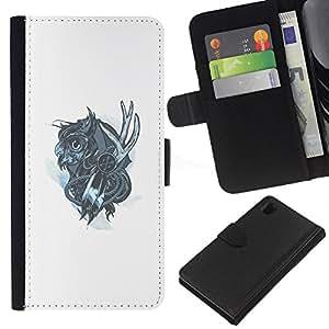 KLONGSHOP // Tirón de la caja Cartera de cuero con ranuras para tarjetas - Mechanich Búho - Sony Xperia Z1 L39 //