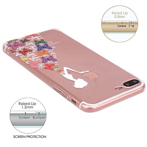 Coque iPhone 7 Plus, JIAXIUFEN Transparent Souple TPU Protecteur Silicone Étui Housse Coque pour iPhone 7 Plus - White Colorful Apple Butterfly Girl