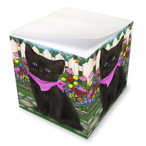 Spring Floral Black Cat Note Cube NOC52188 by Doggie of the Day