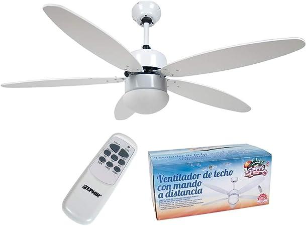 ventilador de Techo, con Mando a Distancia y luz 5 aspas, 3 ...
