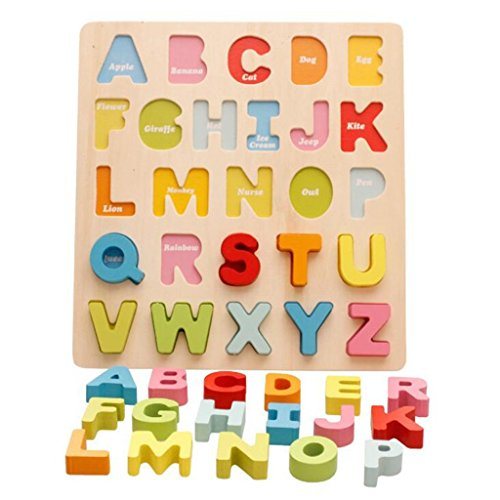 edealing(TM) Alphabet Numbers Wooden Stand Up Puzzle Learning Educational Toy Have (Fresh Start Wooden Puzzle)