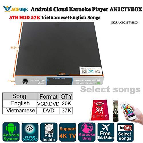- 5TB HDD 57K Songs Android Cloud Karaoke Jukebox/Player with 37K Vietnamese Songs 20K English Songs,Cloud Download, KODI, Watch TV, YouTube Songs Sing