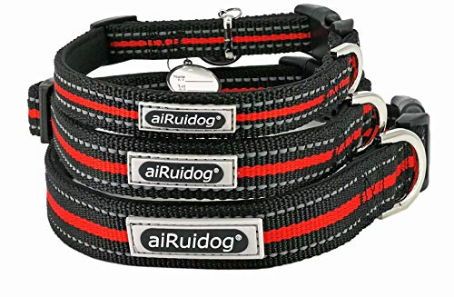 Dog Nylon Collar Reflective - Heavy Duty Lighted Wide Adjustable Snap Large, Meduim or Small Dog Collar for Male Female Pet Dog with Buckle and Soft Filler, Black and Red