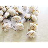 100pcs Small Tea Rose DIY Rose Silk Flowers Artificial Flowers Heads For Home Wedding Decoration Flower Head (White)