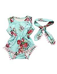 Mapletop Floral Romper Sunsuit Clothes Set For Newborn Baby Girls