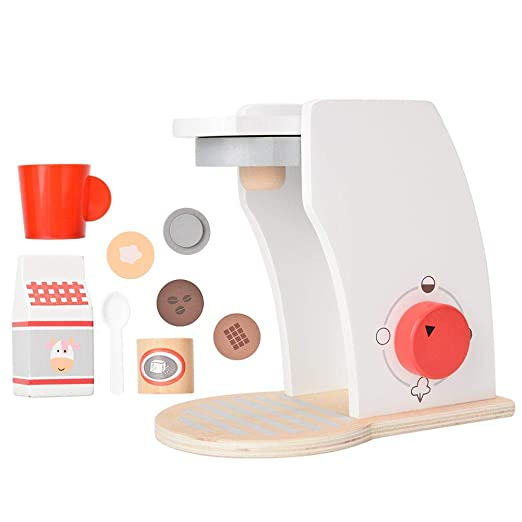 Kids Toy Coffee Machine, Childrens Play House Simulación Cocina de Madera Cocina Cafetera Accesorios de Interior ...
