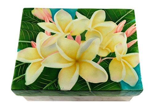 (Kubla Craft Yellow Plumeria Blossoms Capiz Shell Keepsake Box, 6 Inches X 8 Inches)