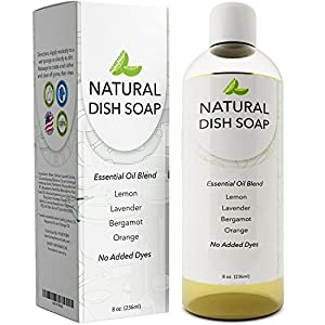 Natural Dish Soap Antibacterial with Essential Oils - Plant Based Liquid Dish Soap - No Fragrance Added Dish Soap for Sensitive Skin and Hand Renewal - No Artificial Colors - Tocopherol Vitamin E