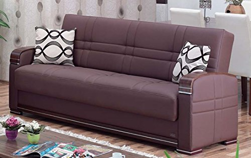 Sofa Convertible Brown Dark (BEYAN Alpine Collection Living Room Convertible Folding Sofa Bed with Storage Space, Includes 2 Pillows, Dark Brown)