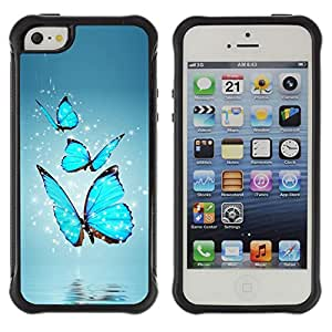 Jordan Colourful Shop@ BLUE BUTTERFLIES Rugged hybrid Protection Impact Case Cover For iphone 5S CASE Cover ,iphone 5 5S case,iphone5S plus cover ,Cases for iphone 5 5S