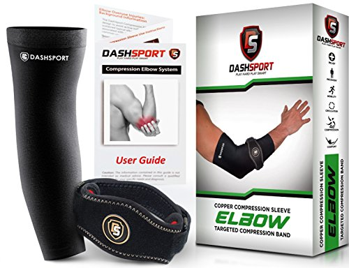 DashSport Copper Tennis Elbow Brace - Copper Compression Elbow Sleeve. Original Elbow System for Complete Support and Pain Relief from Golfer and Tennis Elbow