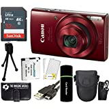 CanonPowerShot ELPH 190 IS 20.2MP 10x Zoom Wi-Fi Digital Camera (Red) + SanDisk 32GB Card + Reader + Spare Battery + Case + Accessory Bundle