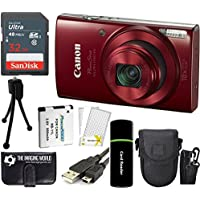 Canon PowerShot ELPH 190 IS 20.2MP 10x Zoom Wi-Fi Digital Camera (Red) + SanDisk 32GB Card + Reader + Spare Battery + Case + Accessory Bundle