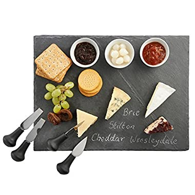 VonShef Cheese Tray and Dipping Accessories with Slate Tray for Cheese with Knives and Dishes