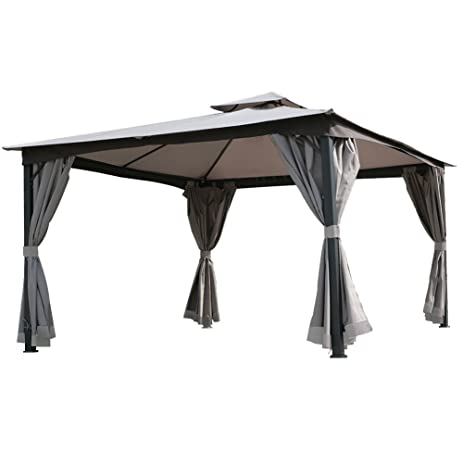 Grand Patio Double Square Tops All Season Gazebo With Hardtop Canopy For  Sun Shelter 13.12