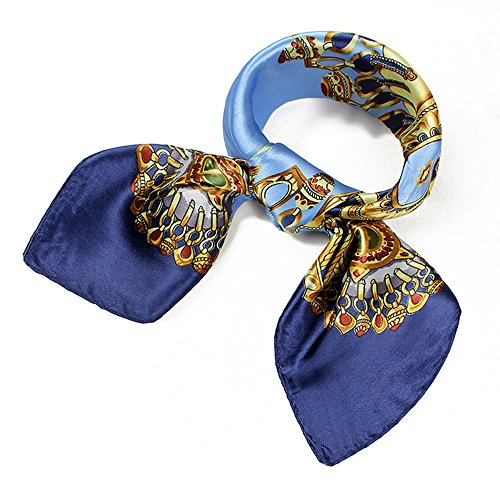Hermes Accessories - QBSM Blue Chain Square Satin Silk Neck Head Scarf Hair Wraps Neckerchief for Sleeping