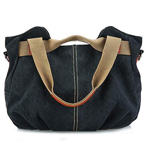 - Peicees Women Ladies Bags Vintage Hobo Canvas Daily Purse Shoulder Top Handle Tote Shopper Handbag (black)
