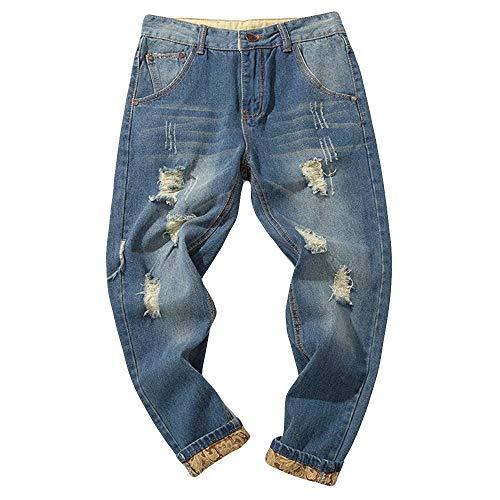 Pantalones Largos para Hombre Vaqueros Denim Jeans Deportivo Pantalones Slim Fit Pantalón Motorcycle Vintage Hiphop Moderno, Laborales,Casuales Azul2