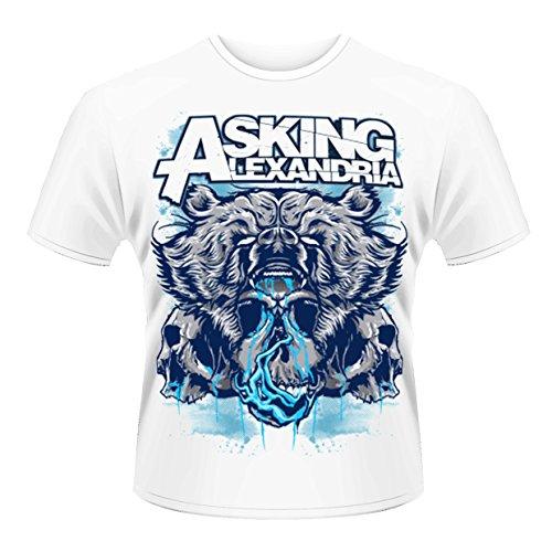 Plastichead Asking Alexandria Bear Skull official men's White large t-shirt