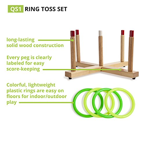 Champion Sports Classic Wooden Ring Toss Game (Includes Wooden Base, 5 Wood Pegs, 2 Yellow & 2 Green Plastic Rings)