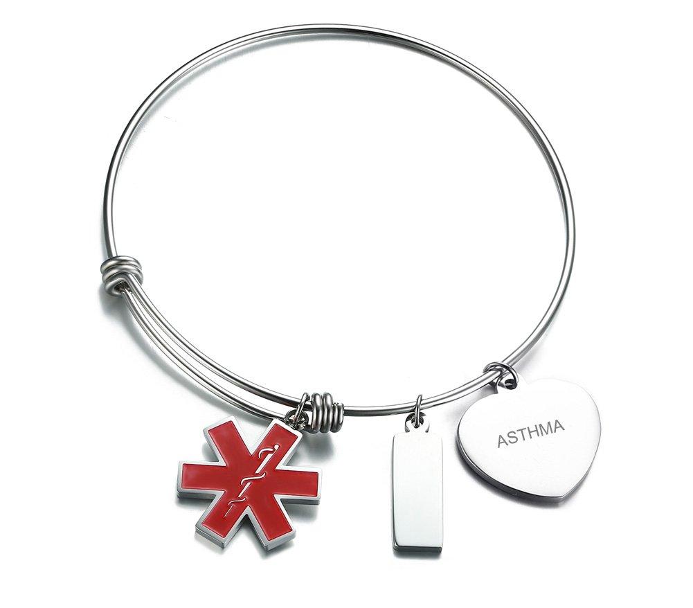 VNOX ASTHMA Stainless Steel Medical Alert ID Charms Expandable Adjustable Bangle Bracelet for Women Girl