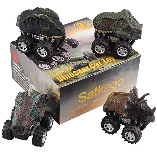 Satkago Dinosaur Toys Pull Back Cars, 4 Pieces Dino Car Toy Pull Back Vehicles with Big Tire Wheel for 3-14 Year Old Boys Girls Novelty Gifts for Kids