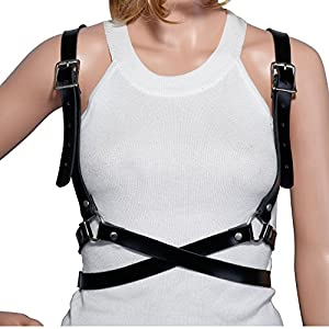 UIYTR Women's Waist Belts Steampunk Faux Harness Straps Adjustable Body Chain Suspenders