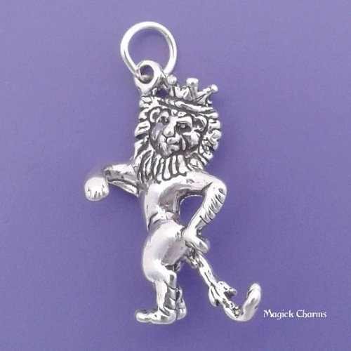 (Sterling Silver 3-D COWARDLY LION Charm Wizard Of Oz Pendant - lp3965 Jewelry Making Supply Pendant Bracelet DIY Crafting by Wholesale Charms)