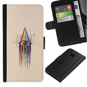 KingStore / Leather Etui en cuir / HTC One M8 / Rainbow Spectrum Crayon Arte