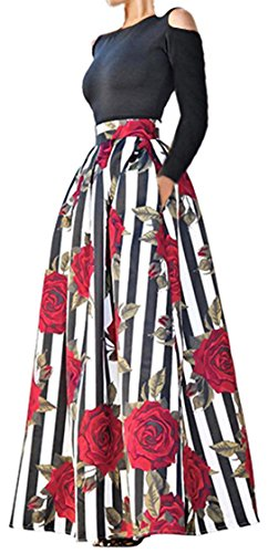 - 2pcs Maxi Skirt Tops Set Women Off Shoulder Long Sleeve Rose Printed Dress 2XL
