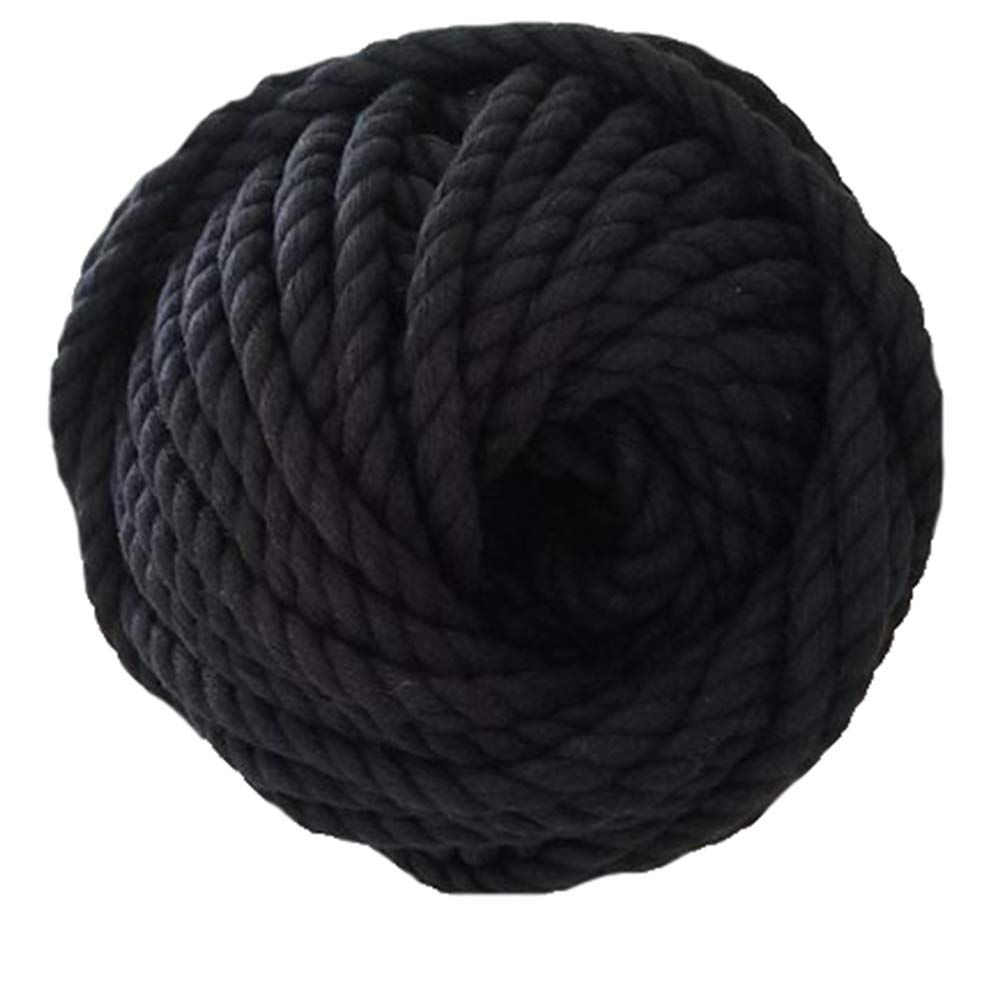 6 mm Cotton Rope,1kg Black Twisted Cotton Rope,Macrame Rope,Macrame Cord About 78 m Cotton Cord Cotton String
