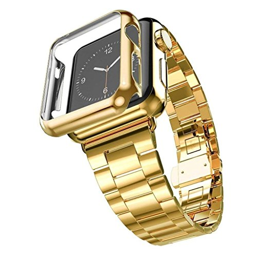 Apple Watch Band with Plated Protect Case, NUJIA Solid Stainless Steel Watch Strap, Metal Replacement Wrist Band with Classic Buckle fits Apple Watch, Sport & Edition (Gold 3-Chain 42mm)