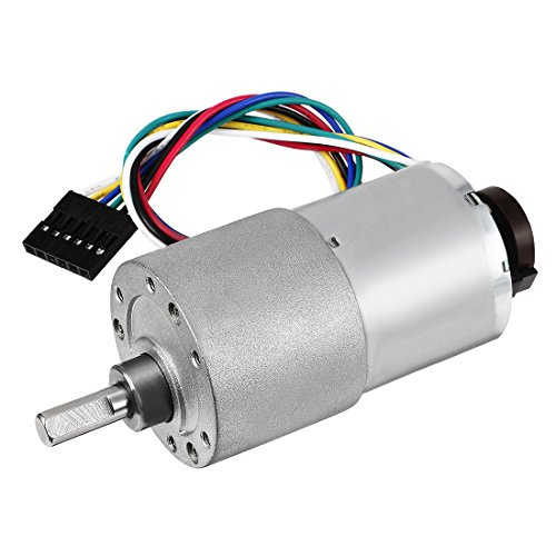 uxcell Gear Motor with Encoder DC 12V 265RPM Gear Ratio 18.8:1 D Shaft Metal Encoder Gear Motor Silver 37Dx52L mm for Robot RC Car Model DIY Engine Toy