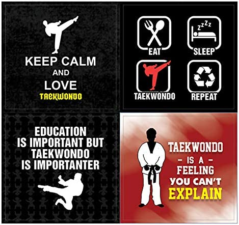 Teens Inches 10-Sheet Creanoso Taekwondo Stickers Waterproof Children Unique Personalized Themes Designs Any Flat Surface DIY Decoration Art Decal for Boys /& Girls Individual Small Size 2.1 x 2 10 X 12pcs Total 120 pcs