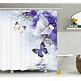 Ambesonne Butterflies Decoration Collection, Butterflies Sailing on Sea with Major Colorful Iris Flowers Fairy Magical Home Decor, Polyester Fabric Bathroom Shower Curtain Set with Hooks, Multi