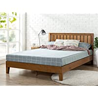Zinus 12 Inch Deluxe Wood Platform Bed with Headboard / No Box Spring Needed / Wood Slat Support / Rustic Pine Finish, Queen