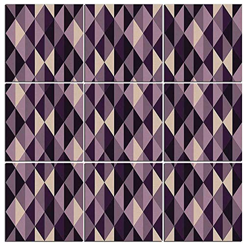 Canvas Wall Art Geometric 9 Pieces Canvas,Abstract Stylized Triangles with Dark and Pale Color Shades Decorative Giclee Prints for Home Decoration,48