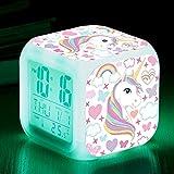 Unicorn Digital Alarm Clocks for Girls LED Night Glowing Cube LCD Clock with Light Children Wake Up Bedside Clock Birthday