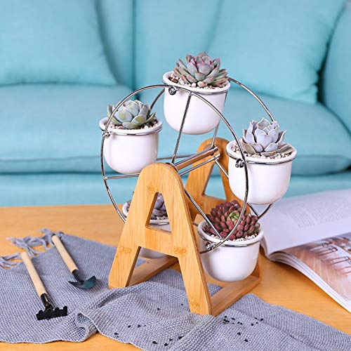 Best Quality - Flower Pots & Planters - Set of Ferris Wheel Design Flowerpots White Ceramic Succulent Planter Pots 5 Bonsai Panters with 1 Bamboo Shelf - by MANGO. - 1 PCs (Best Shelves For Manga)
