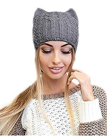 4b3ec245 Light Gray Cat Ears Cute Alpaca Wool Knit Beanie Hat