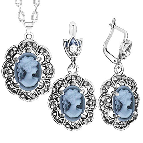 Plum Flower Lady Queen Cameo Jewelry Sets Vintage Look Rhinestone Claw Necklace Earrings (Grey)