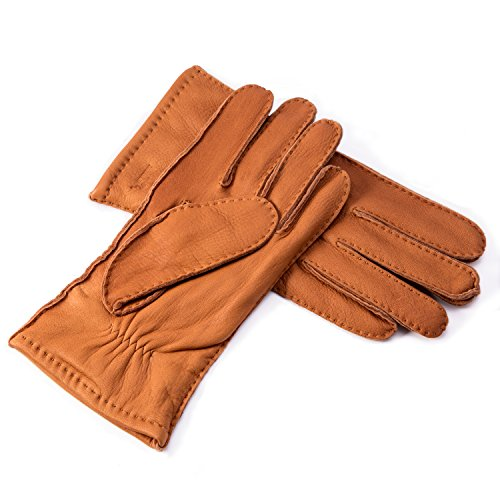YISEVEN Men's Cashmere Lined Deerskin Leather Gloves Handsewn with Classical Three Points and Long Cuff for Winter Hand Warm Fur Heated Dress Driving Motorcycle Luxury Gifts, Cognac 8.5