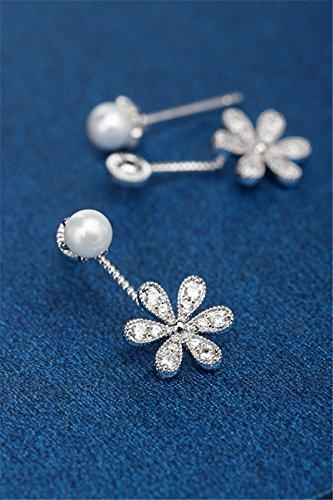 - HJPRT korean head style sweet flowers pearl earrings earings dangler eardrop (18k true gold and silver bottom
