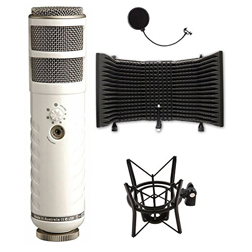 Rode Podcaster USB Dynamic Microphone with Shock Mount and Microphone Isolation Shield by eStudioStar