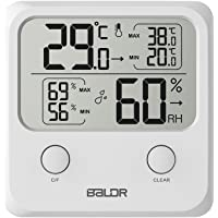 BALDR Digital Thermo-Hygrometer Square Thermometer Monitor Temperature Gauge Humidity with Standing Wall Hanging Magnet…