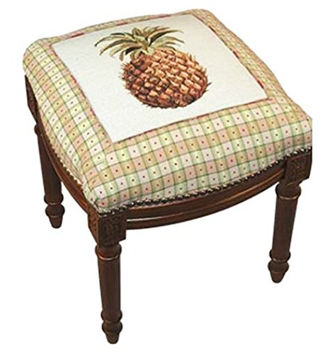 KensingtonRow Home Collection Stool - Pineapple Needlepoint Stool - Vanity Seat - Upholstered ()