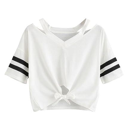 Lazos de damas de manga corta camiseta superior Manga corta, Ba Zha Hei Camisetas y