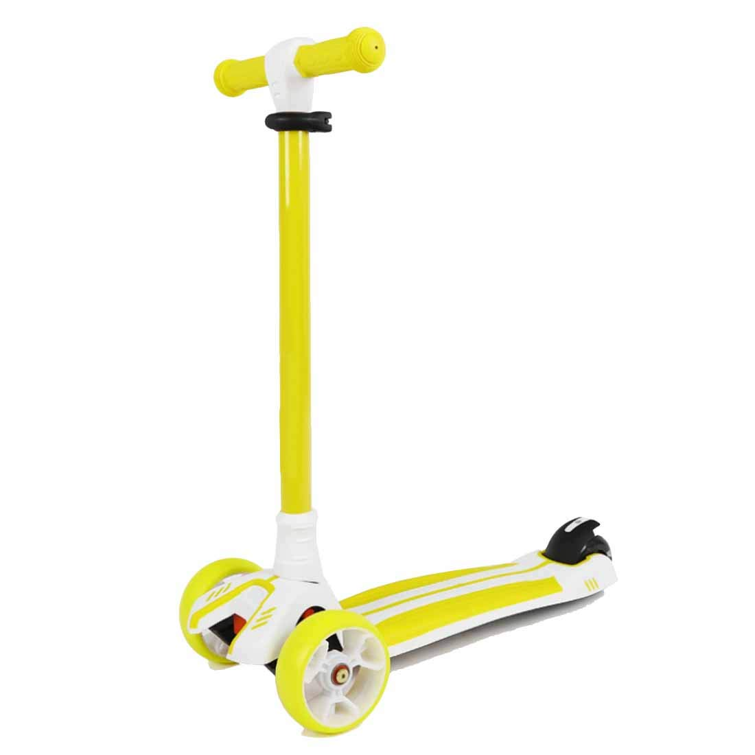 MYMGG Kick Scooter for Kids - 3 Wheels Scooter with Adjustable Height Extra-Wide Deck PU Flashing Wheels,Yellow