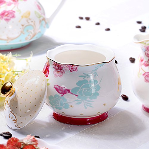 AWHOME Sugar and Creamer Set for Coffee and Tea Red Floral Painted Classic Porcelain by AWHOME (Image #1)