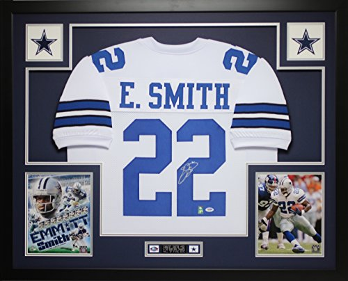 Emmitt Smith Autographed White Cowboys Jersey - Beautifully Matted and Framed - Hand Signed By Emmitt Smith and Certified Authentic by Auto PSA COA - Includes Certificate of Authenticity